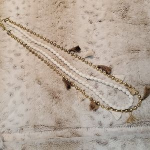 Chico's Dual Strand Faux Pearl and Tassel Necklace